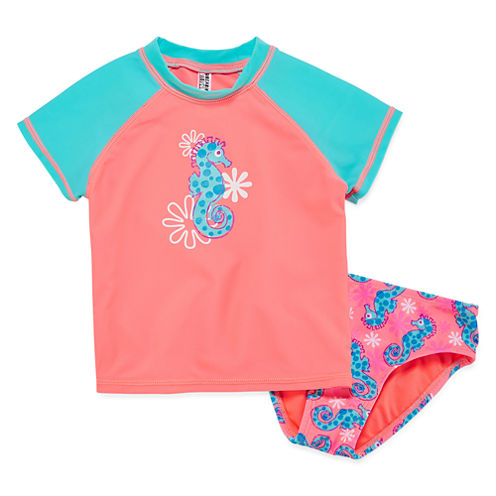 My Little Sea Pony Solid Rash Guard Set - Toddler