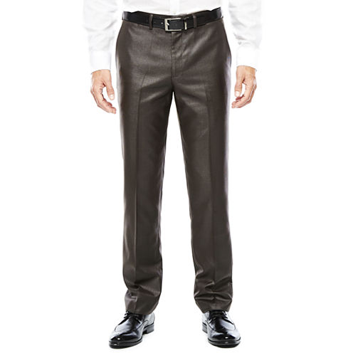 Men's J.Ferrar Charcoal Black Plaid Flat-Front Slim Fit Suit Pants
