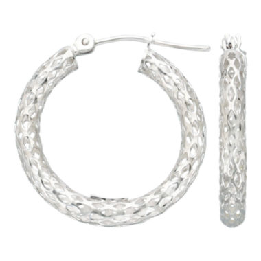 jcpenney.com | Geometric Cut-Out Hoop Earrings 14K White Gold