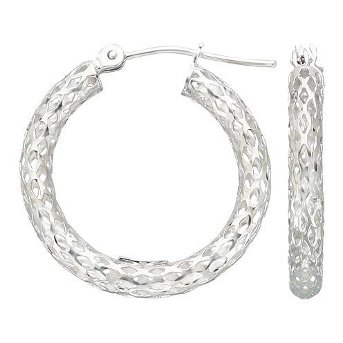 Geometric Cut-Out Hoop Earrings 14K White Gold