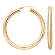 Thick Hoop Earrings 14K Yellow Gold