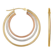 Tri-Color Hoop Earrings 14K Gold
