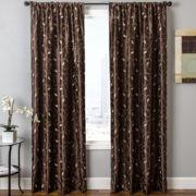 Sedro Scroll Faux-Silk Rod-Pocket Curtain Panel
