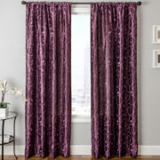 Sedro Scroll Faux-Silk Rod-Pocket Curtain Panel