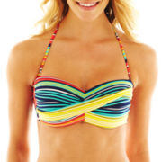 jcp™ Striped Twist Bandeau Swim Top