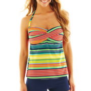 jcp™ Striped Twist Tankini Swim Top