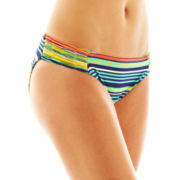 jcp™ Striped Shirred Side-Tab Hipster Swim Bottoms