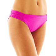 jcp™ Solid Shirred Side-Tab Hipster Swim Bottoms