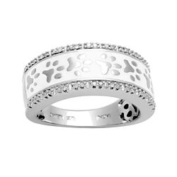 1/10 CT. T.W. Diamond Paw Print Band Ring