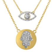 Diamond Addiction Diamond-Accent 14K Gold-Plated Necklace Set