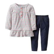 Carter's® 2-pc. Long-Sleeve Dot and Denim Pant Set - Girls newborn-24m