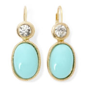 Monet® Crystal and Aqua Gold-Tone Drop Earrings