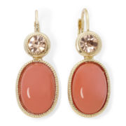 Monet® Coral Gold-Tone Drop Earrings