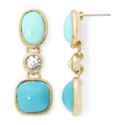 Monet® Crystal and Aqua Gold-Tone Earrings