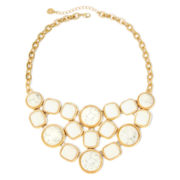 Monet® White Stone Gold-Tone Bib Necklace