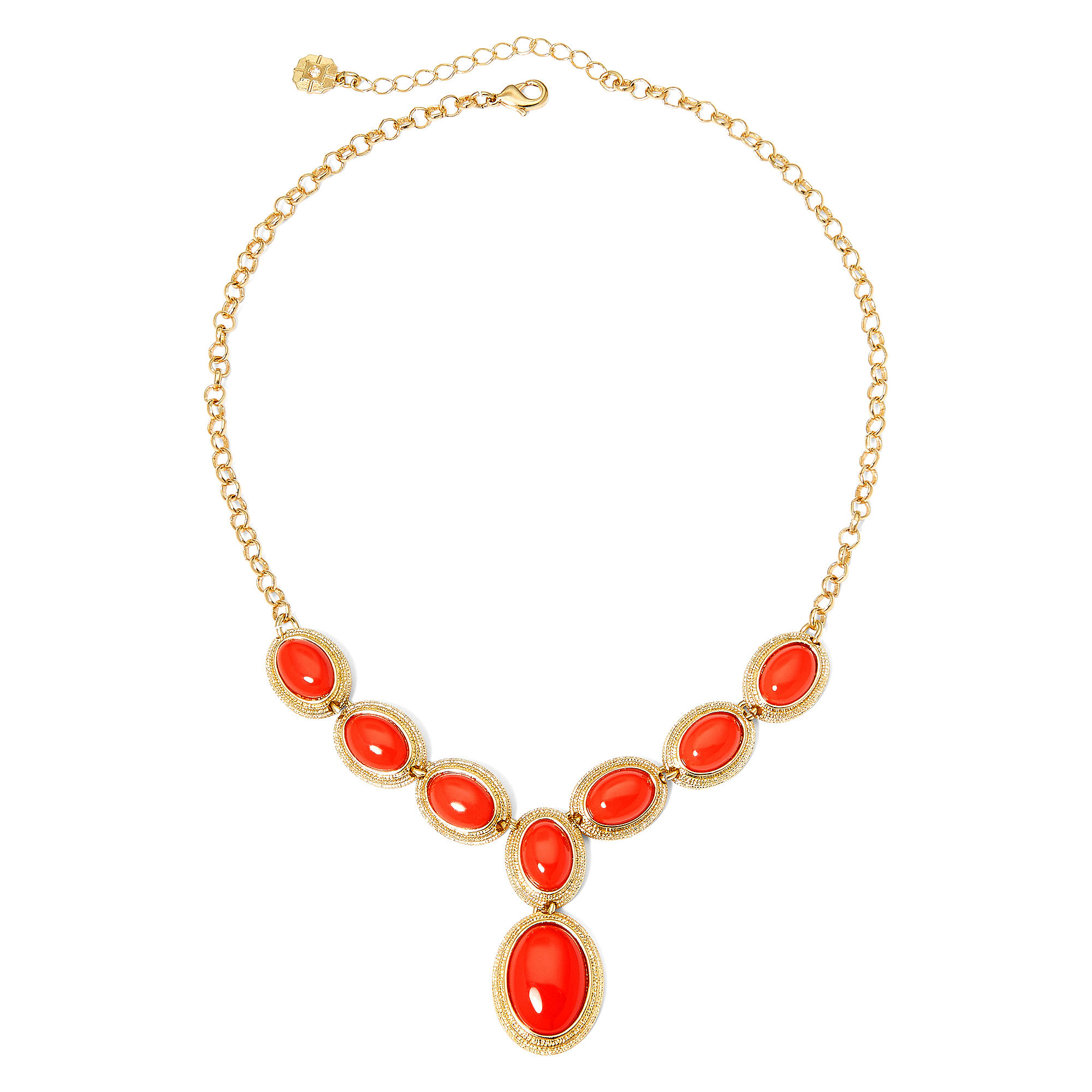 Monet Coral Stone Gold-Tone Y-Necklace