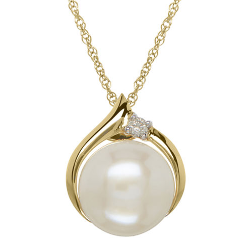 Certified Sofia™ Cultured Freshwater Pearl & Diamond-Accent Pendant Necklace