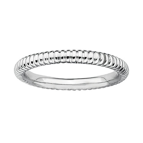 Personally Stackable Sterling Silver 2mm Ribbed Ring