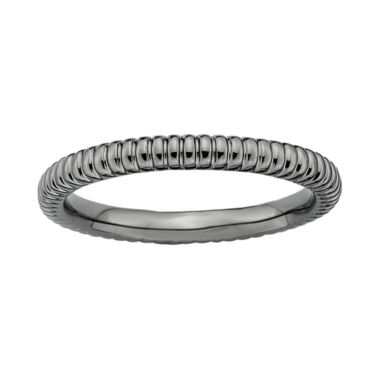 jcpenney.com | Personally Stackable Black-Plated Sterling Silver 2mm Ribbed Ring