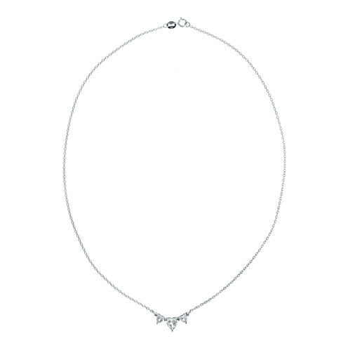 Genuine White Topaz Heart-Shaped 3-Stone Sterling Silver Necklace