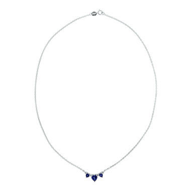 jcpenney.com | Lab-Created Blue Sapphire Heart-Shaped 3-Stone Sterling Silver Necklace