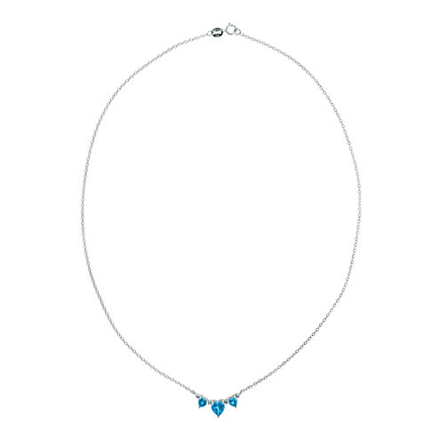 Genuine BlueTopaz & Diamond-Accent Heart-Shaped 3-Stone Sterling Silver Necklace