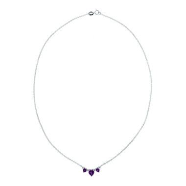 jcpenney.com | Genuine Amethyst Heart-Shaped 3-Stone Sterling Silver Necklace