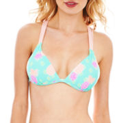 Arizona Pineapple Print Halter Swim Top - Juniors