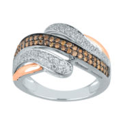 1/2 CT. T.W. White & Champagne Diamond Sterling Silver With 14K Rose Gold Ring