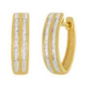 1/3 CT. T.W.  Diamond 14K Gold Over Sterling Silver 2-Row Hoop Earrings