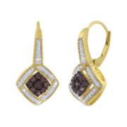1/3 CT. T.W. White & Color-Enhanced Champagne Diamond Frame Earrings
