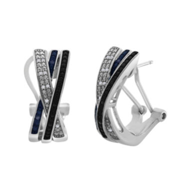 jcpenney.com | 1/10 CT. T.W. White & Color-Enhanced Black & Blue Diamond Crossover Earrings