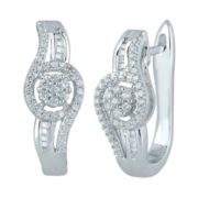 diamond blossom 1/2 CT. T.W. Diamond Cluster Sterling Silver Orbit Hoop Earrings