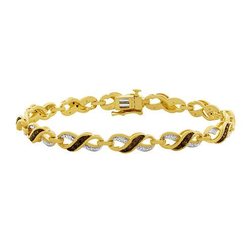 1/4 CT. T.W. White, Champagne & Color-Enhanced Black Diamond Bracelet