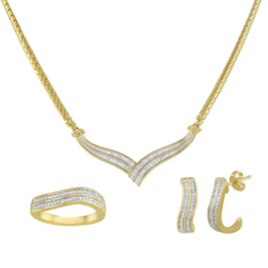 jcpenney.com | 1/10 CT. T.W. Diamond 14K Gold Over Brass Boxed 3-pc. Wave Jewelry Set