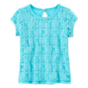 Arizona Short-Sleeve Lace Keyhole Knit Tee - Girls 3m-24m