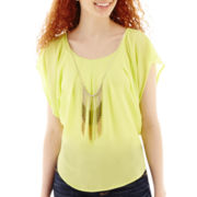 by&by Short-Sleeve Chiffon Necklace Top