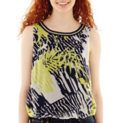 by&by Sleeveless Tropical Print Chain-Trim Top