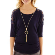 by&by 3/4-Sleeve Lace-Inset Necklace Top