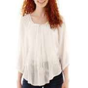 by&by 3/4-Sleeve Embroidered Peasant Top