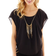 by&by Short-Sleeve Necklace Top