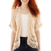 Take Out 3/4-Sleeve Fringed Shrug Cardigan