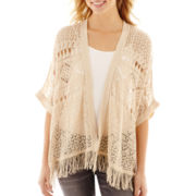 Take Out 3/4-Sleeve Scalloped-Edge Cardigan