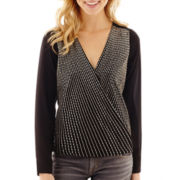 XOXO® Long-Sleeve Twist-Front Beaded Top