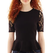 Olsenboye® Short-Sleeve Lace Peplum Top