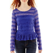 Olsenboye® Long-Sleeve Ruffle Lace Top