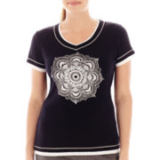 Made For Life™ Short-Sleeve Layered Medallion Tee - Petite
