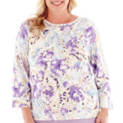 Alfred Dunner® A Fine Romance 3/4-Sleeve Abstract Floral Print Top - Plus