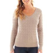 St. John's Bay® Long-Sleeve V-Neck Cable Sweater