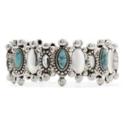 Aris by Treska Aqua Stone Crystal Silver-Tone Stretch Bracelet